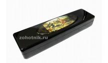 Шкатулка для ножа из древесины с рисунком «Охотники на привале»