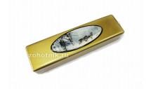 Шкатулка для ножа из древесины с рисунком «Волки» золот.
