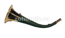 горн охотничий (кожаная отделка) 30 см, круглый, цвет тёмно-зелёный
