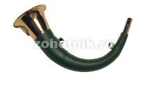 Горн охотничий (кожаная отделка) 45 см, изогнутый, круглый, цвет тёмно-зелёный