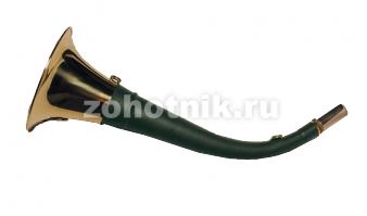 Горн охотничий (кожаная отделка) 50 см, круглый, цвет тёмно-зелёный