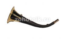 Горн охотничий (кожаная отделка) 50 см, круглый, цвет тёмно-коричневый